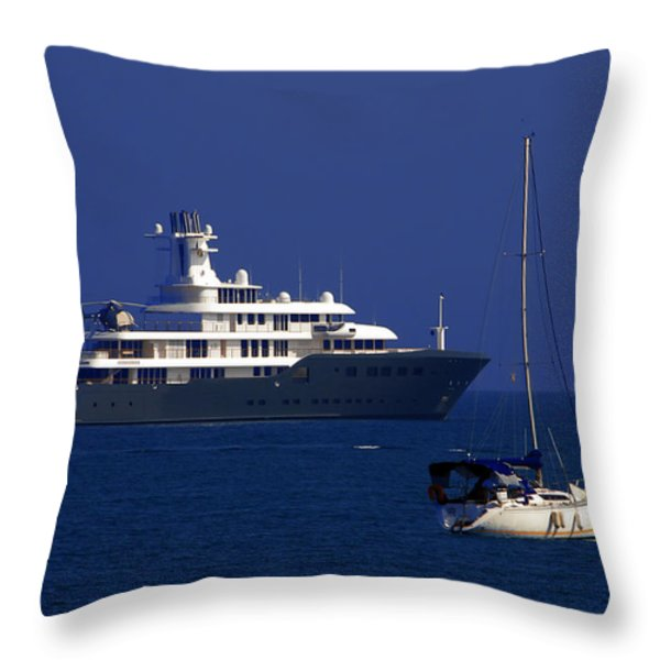 Antibes - Superyachts Of Billionaires Throw Pillow by Christine Till