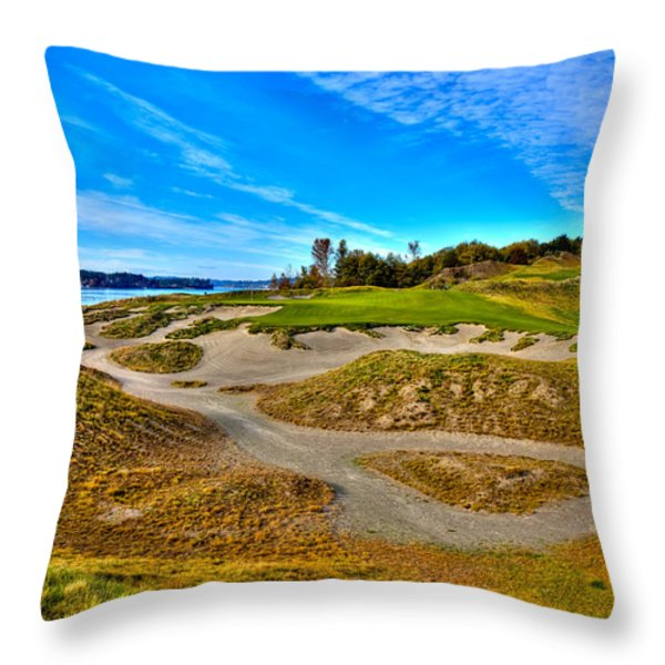 #3 at Chambers Bay Golf Course - Location of the 2015 U.S. Open Championship Throw Pillow by David Patterson