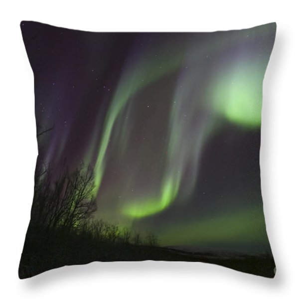Aurora Borealis By Fish Lake Throw Pillow by Joseph Bradley