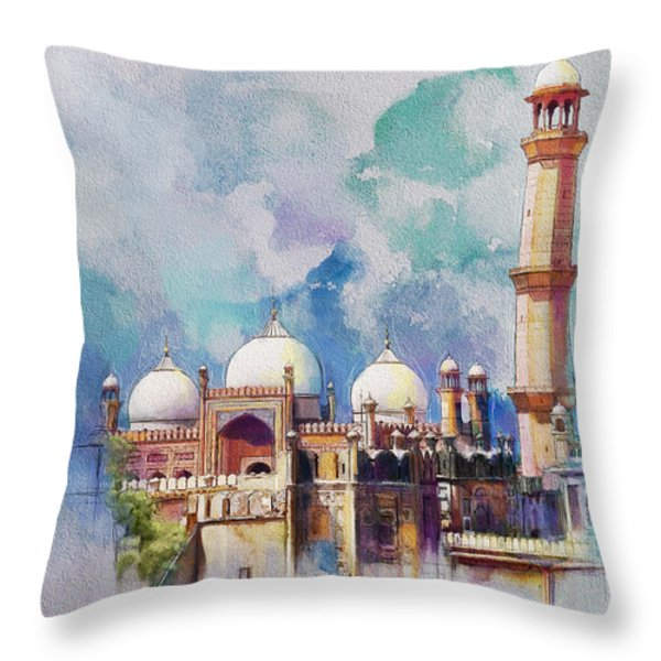 Badshahi Mosque Throw Pillow by Catf