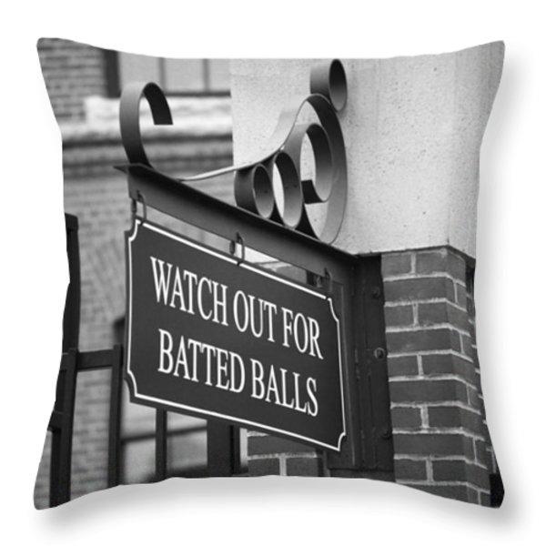 Baseball Warning Throw Pillow by Frank Romeo