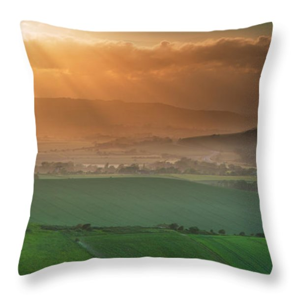 Beautiful English countryside landscape over rolling hills Throw Pillow by Matthew Gibson