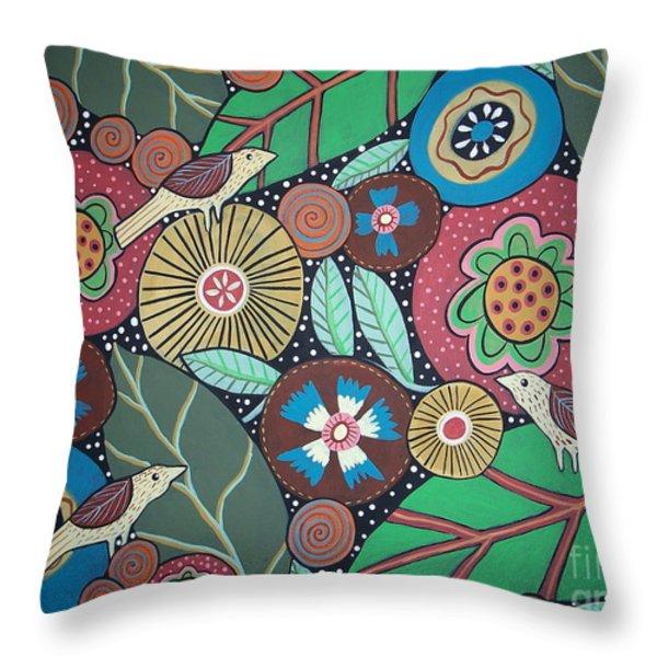 3 Bird Botanical Throw Pillow by Karla Gerard