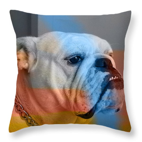 Bulldog Throw Pillow by Marvin Blaine