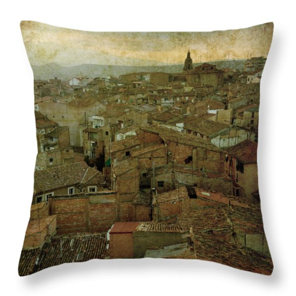 Calahorra roofs from the bell tower of Saint Andrew church Throw Pillow by RicardMN Photography