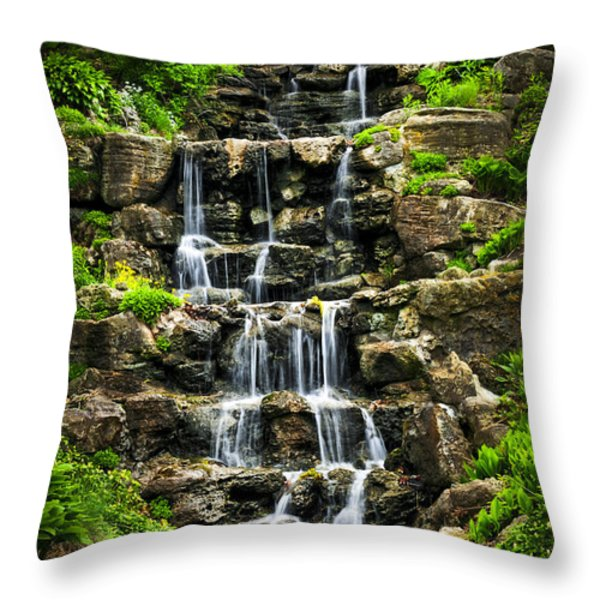 Cascading waterfall Throw Pillow by Elena Elisseeva