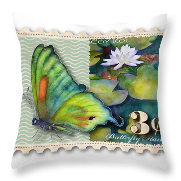3 Cent Butterfly Stamp Throw Pillow by Amy Kirkpatrick