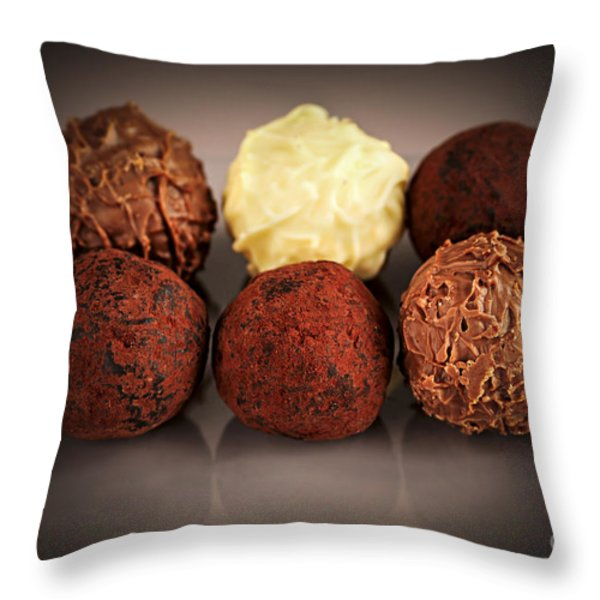 Chocolate truffles Throw Pillow by Elena Elisseeva