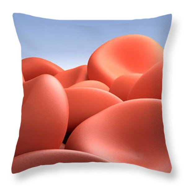 Conceptual Image Of Red Blood Cells Throw Pillow by Stocktrek Images