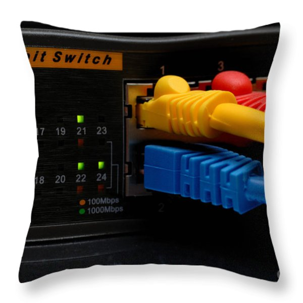 Ethernet Cables Plugged Into Router Throw Pillow by Amy Cicconi