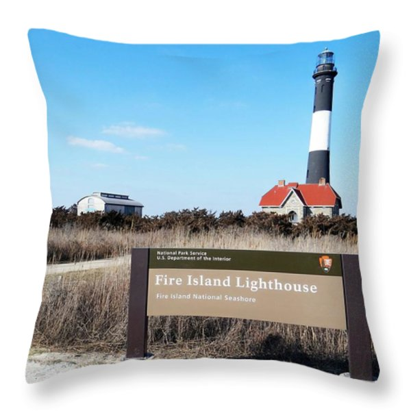 Fire Island Lighthouse Throw Pillow by Ed Weidman