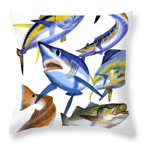 Gamefish Collage Throw Pillow by Carey Chen