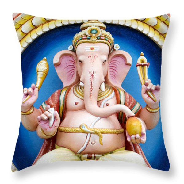 Ganesha Throw Pillow by Tim Gainey