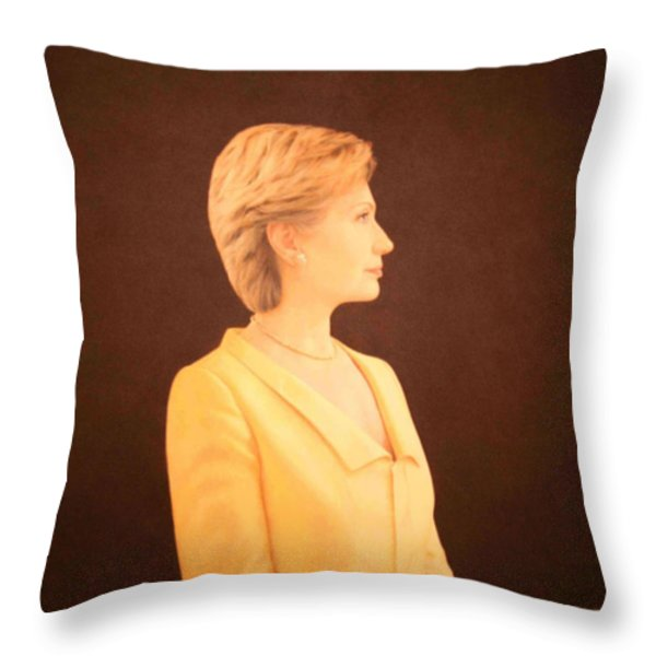 Hillary Rodham Clinton Throw Pillow by Cora Wandel