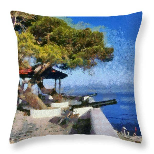 Hydra Island Throw Pillow by George Atsametakis