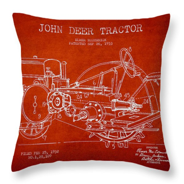 John Deer Tractor Patent Drawing From 1933 Throw Pillow by Aged Pixel