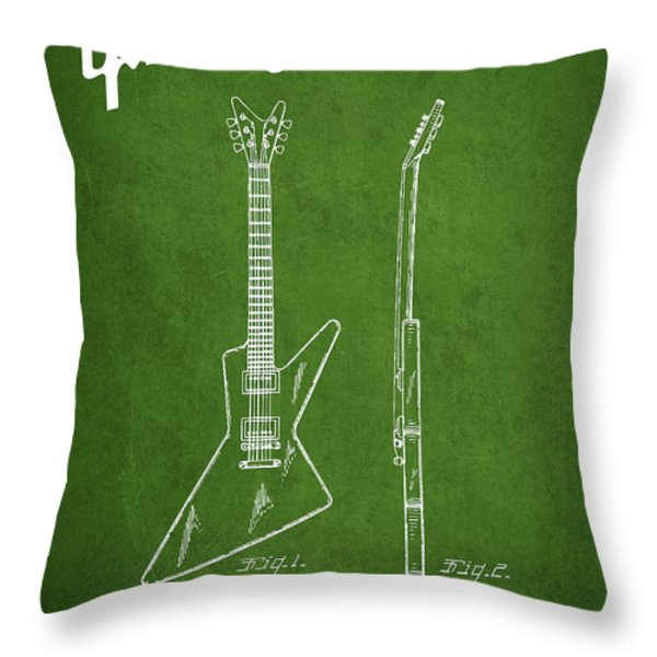McCarty Gibson electrical guitar patent Drawing from 1958 - Green Throw Pillow by Aged Pixel