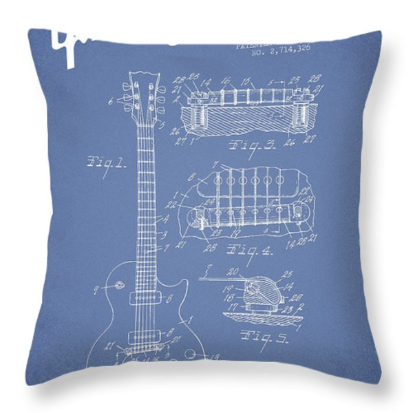 Mccarty Gibson Les Paul guitar patent Drawing from 1955 - Light Blue Throw Pillow by Aged Pixel