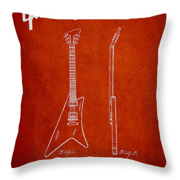 McCarty Gibson stringed instrument patent Drawing from 1958 - Red Throw Pillow by Aged Pixel