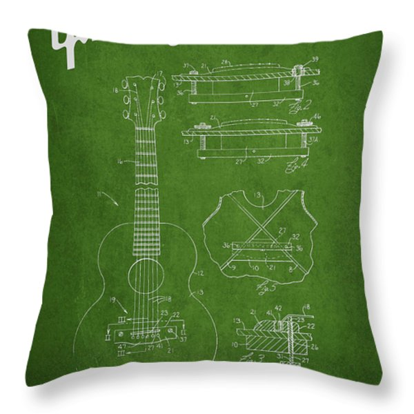 Mccarty Gibson stringed instrument patent Drawing from 1969 - Green Throw Pillow by Aged Pixel