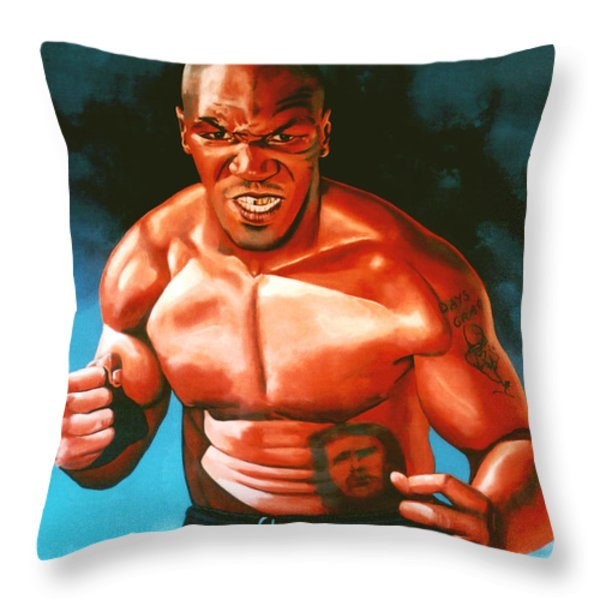 Mike Tyson Throw Pillow by Paul  Meijering