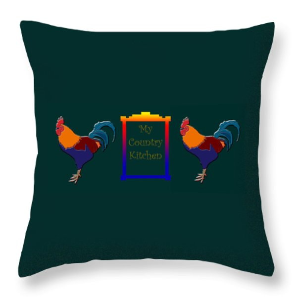 My Country Kitchen Sign Throw Pillow by Kate Farrant