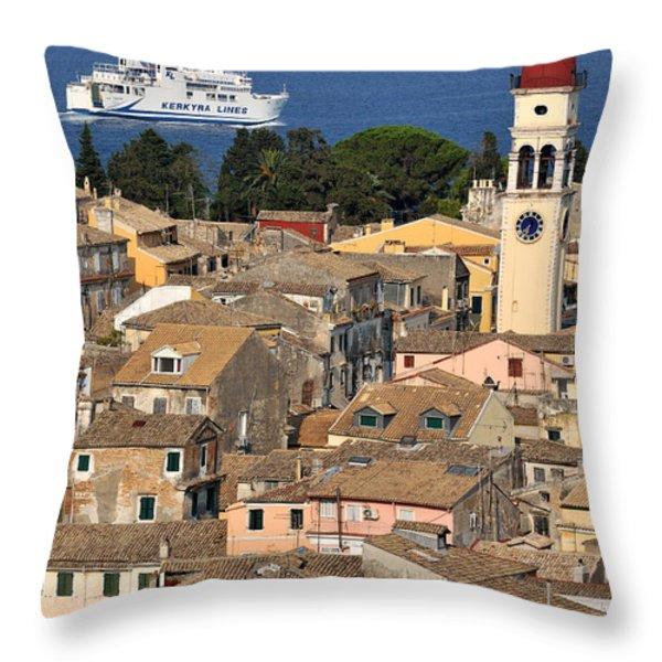 Old City Of Corfu Throw Pillow by George Atsametakis