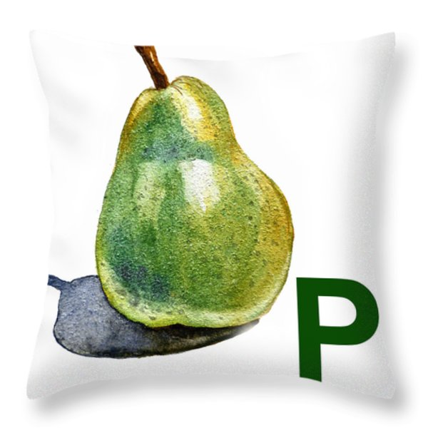 P Art Alphabet For Kids Room Throw Pillow by Irina Sztukowski