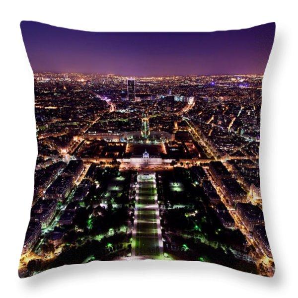 Paris Panorama France At Night Throw Pillow by Michal Bednarek