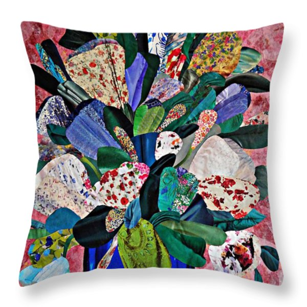 Patchwork Bouquet Throw Pillow by Sarah Loft