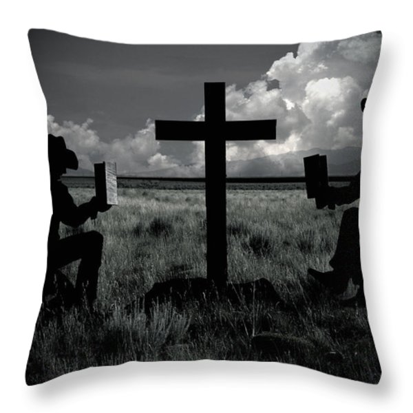 Praying Cowboys Throw Pillow by Christine Till