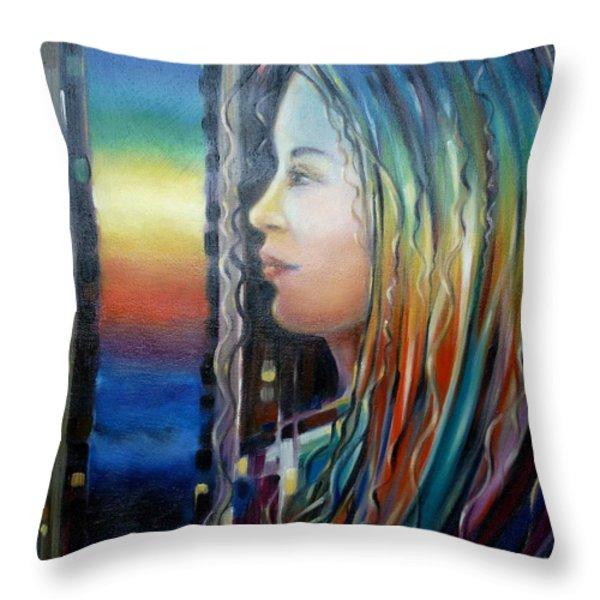 Rainbow Girl 241008 Throw Pillow by Selena Boron