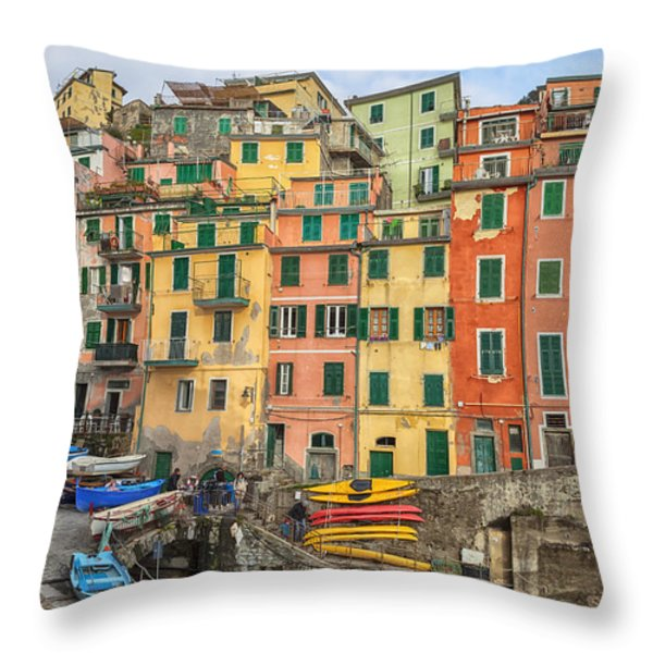 Riomaggiore Throw Pillow by Joana Kruse