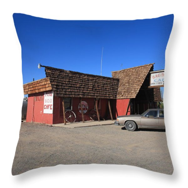 Route 66 - Bagdad Cafe Throw Pillow by Frank Romeo