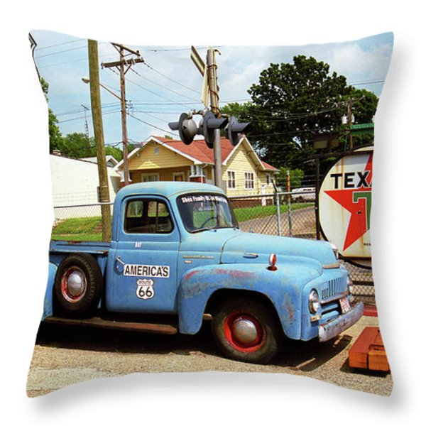 Route 66 - Shea's Gas Station Throw Pillow by Frank Romeo