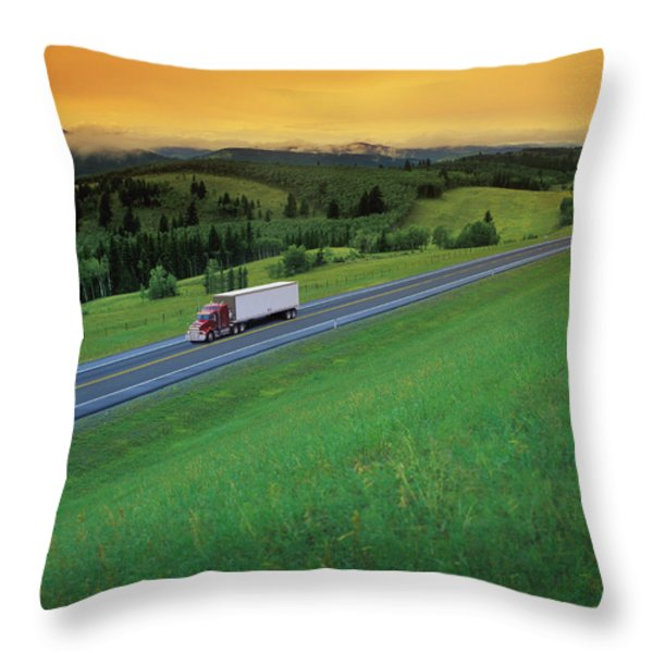 Semi-trailer Truck Throw Pillow by Don Hammond