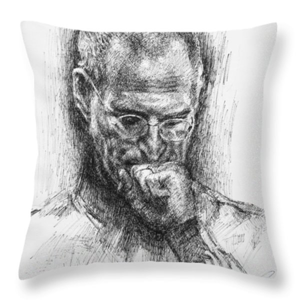 Steve Jobs Throw Pillow by Ylli Haruni