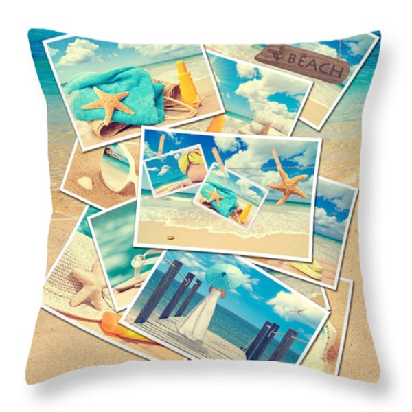 Summer Postcards Throw Pillow by Amanda And Christopher Elwell
