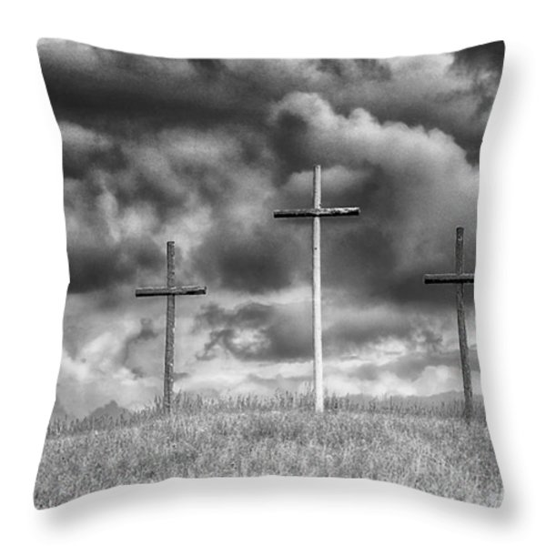 Three Crosses On Hill Throw Pillow by Thomas R Fletcher
