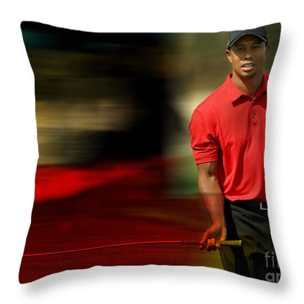 Tiger Woods Throw Pillow by Marvin Blaine