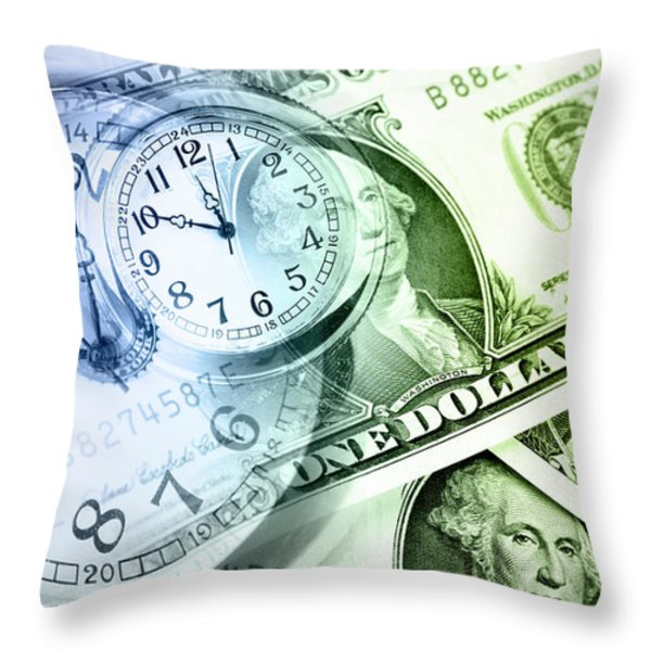 Time Is Money Throw Pillow by Les Cunliffe