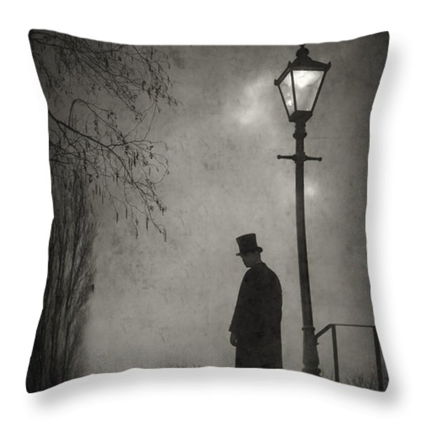 victorian man standing next to an illuminated gas lamp Throw Pillow by Lee Avison