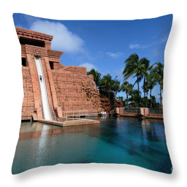 Water Slide at the Mayan Temple Atlantis Resort Throw Pillow by Amy Cicconi