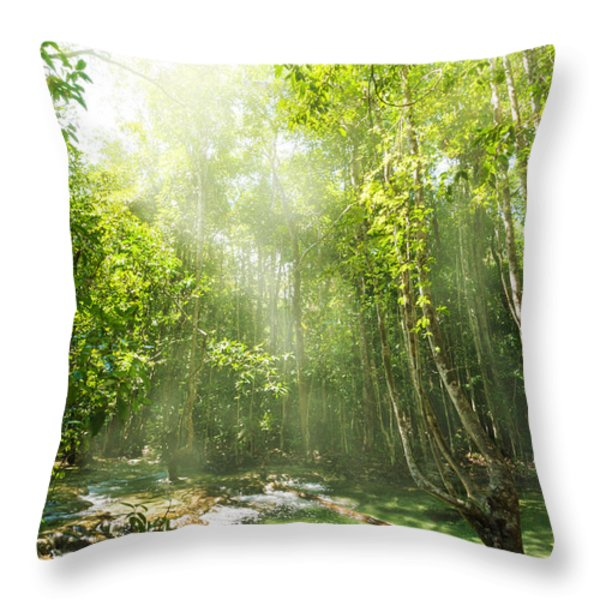 Waterfall In Rainforest Throw Pillow by Atiketta Sangasaeng