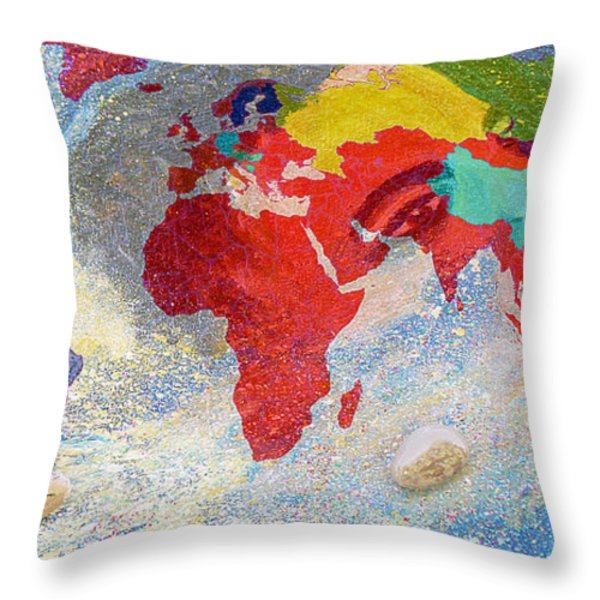 World Map And Barack Obama Stars Throw Pillow by Augusta Stylianou