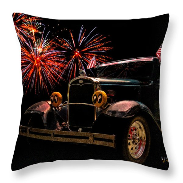31 Five Window Coupe on the Fourth of July Throw Pillow by Chas Sinklier