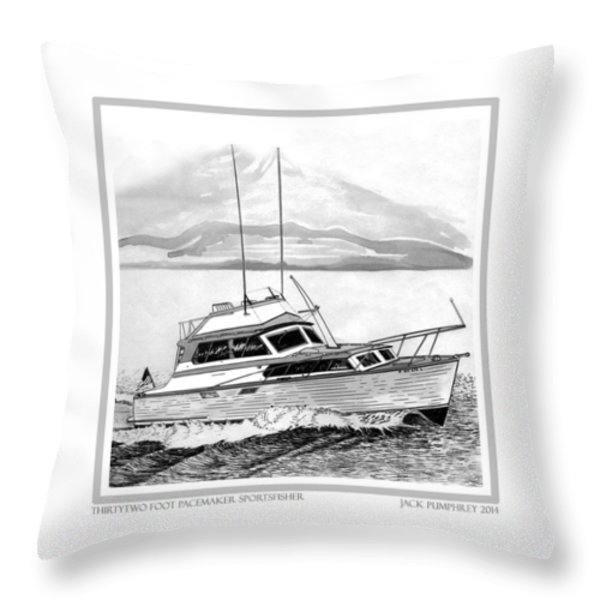 32 Foot Pacemaker Sportsfisher Throw Pillow by Jack Pumphrey