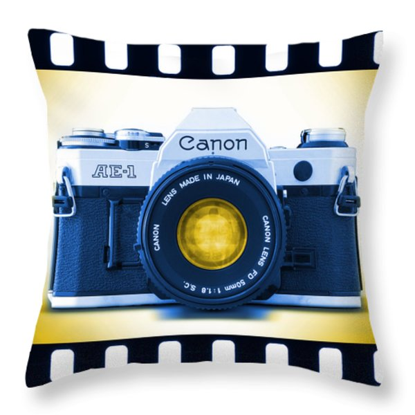 35mm BLUES Canon AE-1 Throw Pillow by Mike McGlothlen