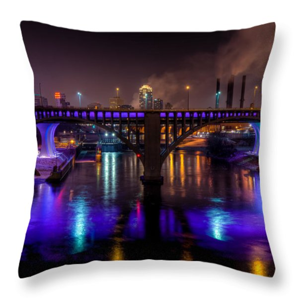 35W Bridge in Vikings Purple Throw Pillow by Mark Goodman