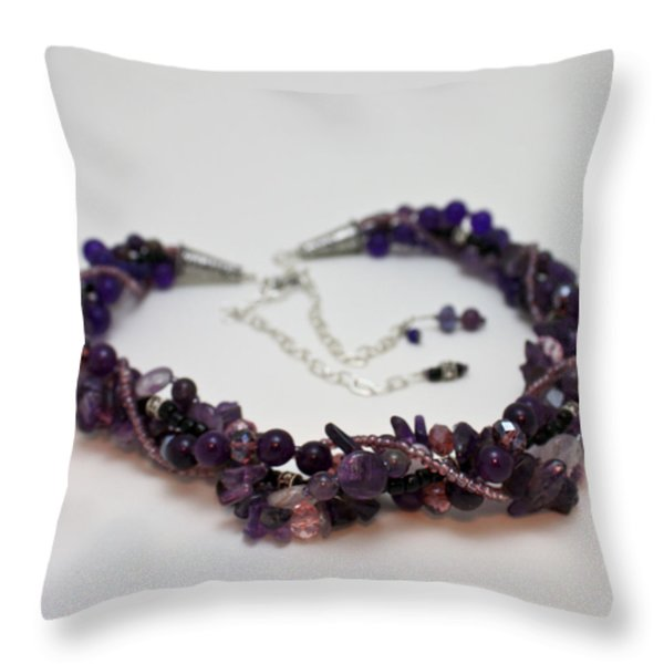 3607 Multi Strand Adjustable Amethyst Necklace Throw Pillow by Teresa Mucha